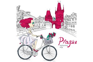 Girl rides a bike in Prague
