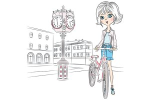 Cute girl with a bike
