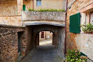 Romantic street in Montepulciano.