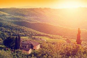 Tuscany at sunset.