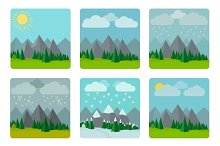 Weather illustrations in flat style