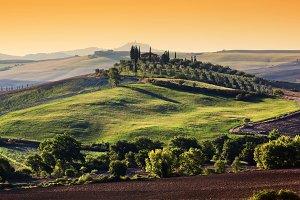 Tuscany landscape at sunrise.