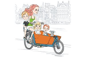 Mother carries children on the bike