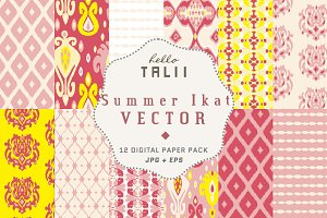 Summer Ikat Patterns (Vector + JPG)