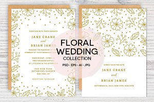 Floral Confetti Wedding Invite Set