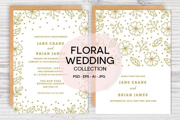 floral confetti wedding invite set invitation templates creative