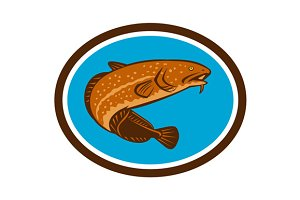 Burbot Fish Oval Retro