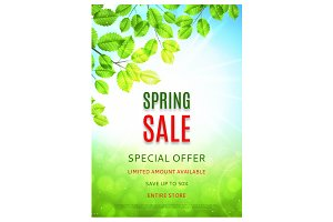 Banner and flyer of spring sale