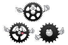 Gears, cogwheel and pinion icons