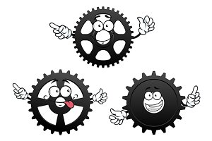 Gears, cogwheel and pinion icons