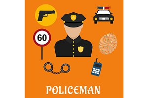 Policeman and justice icons