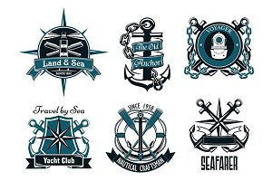 Retro nautical heraldic emblems