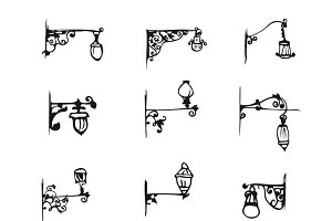 Hand Draw antique Street Lamp set