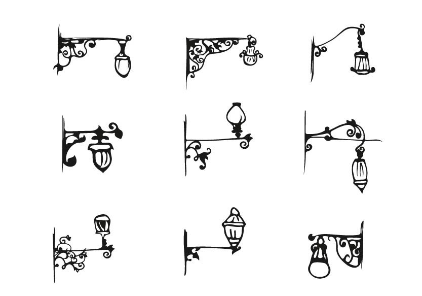 Hand Draw Antique Street Lamp Set Illustrations