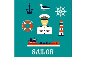 Sailor profession and marine icons