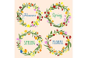 Delicate spring floral wreaths