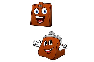 Cartoon wallet and purse characters