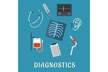 Medical diagnostics flat icons