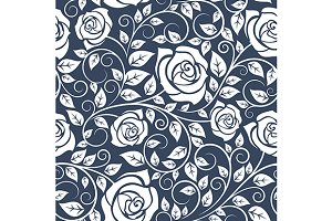 Seamless pattern with curled roses