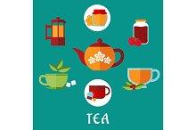 Tea icons, jars, honey, mint, sugar