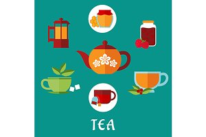 Tea icons, jars, honey, mint, sugar