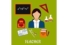Teacher profession, education icons