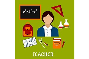 Teacher profession, education icons