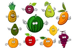 Cartoon sweet fruits characters