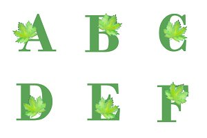 Alphabet with Watercolour Leafs