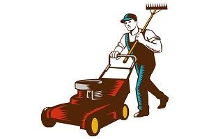 Gardener Lawn Mower Rake Woodcut