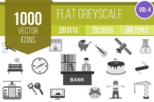 1000 Flat Greyscale Icons (V4)