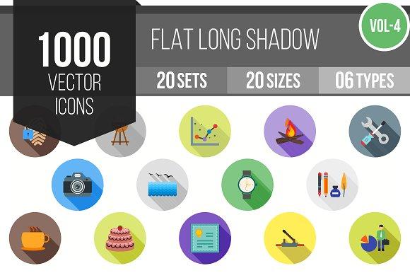 1000 Flat Shadowed Icons (V4)