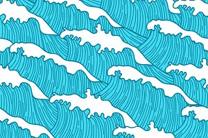 Sea seamless patterns with waves.