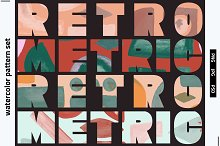 Watercolor Retrometric Pattern Pack by  in Graphics