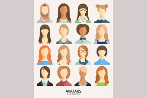Set of avatar icons. 16 cute avatars