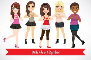 Girls Heart Symbol Love Characters