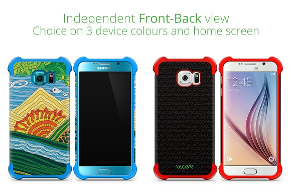 Galaxy S6 2-in-1 Hybrid Case Mockup in Product Mockups - product preview 1