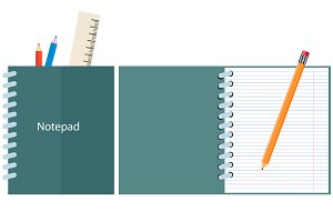 Notepad with pencil and ruler.vector