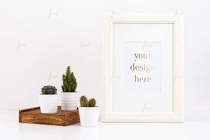 White frame cacti photo-based mockup