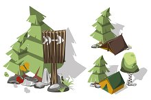 Isometric 3d camping elements