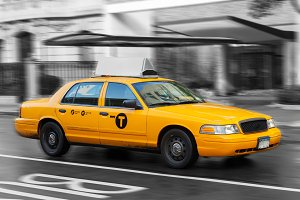 Yellow Cab in Manhattan, NYC.