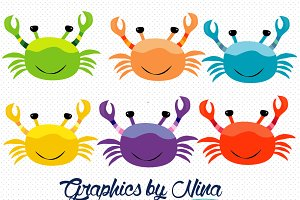 Colorful Crabs Clipart