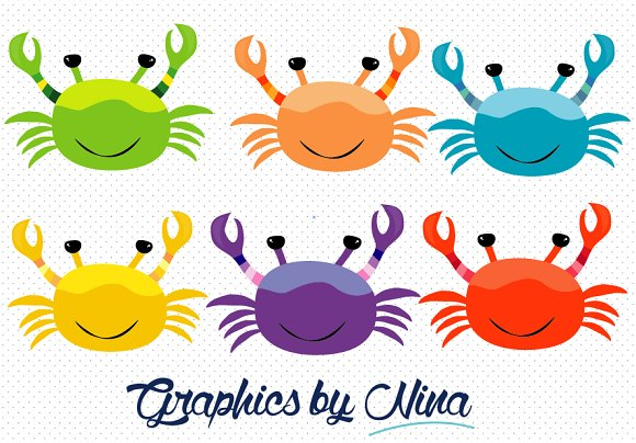 Colorful Crabs Clipart ~ Illustrations on Creative Market