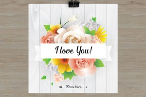 I love you card with flowers