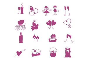 Hand draw wedding icons set