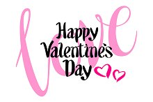 happy valentines day pink kiss heart