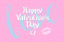 happy valentines day love pink kiss