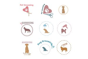 Pet grooming,dog grooming label,icon