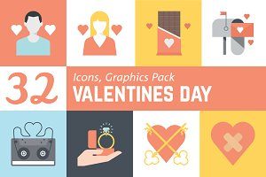 32 Valentines Day graphics icon pack