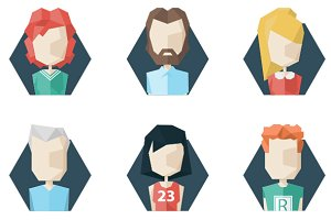 12 Avatars Icons. Polygon Style
